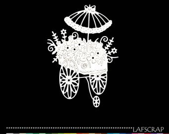 Cut scrapbooking cart flower parasol umbrella cut paper embellishment die cut creation