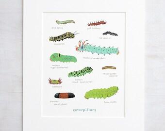 Caterpillars Print, Colorful Kids Art Print, Nature Painting