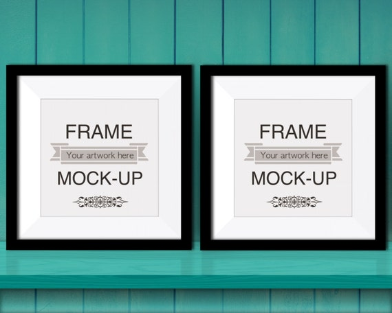 Teal poster mockup two black square frames 10 x 10 inch 12