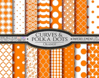 Orange Polka Dot Digital Paper - Printable Orange Geometric Backdrops with Tangerine Orange Quatrefoil Patterns for Scrapbooking Pages