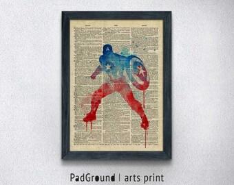Captain America Art Print, Avengers, Marvel, Burlap Print, Home Decor, Wall Decor, Wall Hanging, Natural Linen Print Art with Frame-SP60B