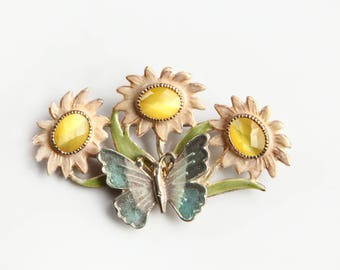 Vintage Butterfly Sunflowers Enamel Brooch ~ Yellow Cats Eye Cabochons Turquoise Green ~ Marked KC ~ Gift for Her