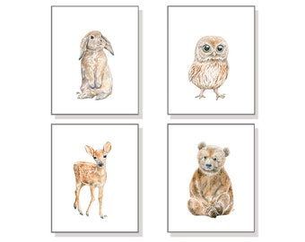 Nursery Home Decor Nursery Decor Nursery Wall Decor Nursery Wall Hanging Kids Bedroom Watercolor Bear Deer Owl Bunny Woodland Print Set Of 4