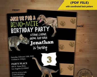 Dino dig invite etsy dinosaur birthday invitation chalkboard dino party invite instant download you edit text and print yourself invite solutioingenieria Gallery