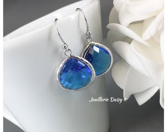 Bridesmaid Gift Royal Blue Earrings Sapphire Capri Maid of Honor Gift Mother of Groom Gift Mother of Bride Gift for Her Wedding