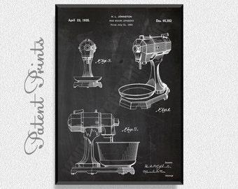 Food Mixing 1935 Patent Print, Kitchen Wall Decor, Kitchen Wall Art, Restaurant Decor, Dining Room Wall Decor