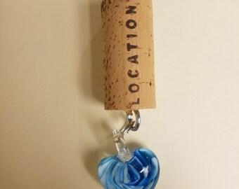 Wine Cork Keychain - Glass Heart