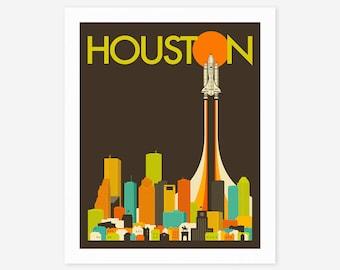 HOUSTON SKYLINE (Giclée Fine Art Print/Photo Print/Poster Print) Space Shuttle Pop Art