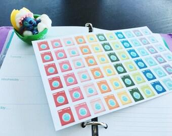 PP002 -- Set of 66pcs Washing Machine Life Planner Die-Cut Sticker||Perfect 4 Erin Condren, Limelife,Plum Paper,Filofax Planners
