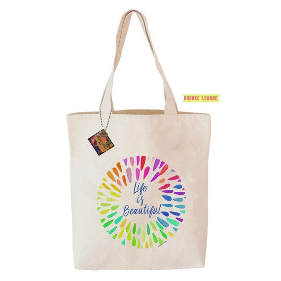Life is Beautiful Tote Bag - Reusable Grocery Shopping Bag - Farmer's Market Bag - Cotton Tote Bag - Book Bag - Peace - Free Shipping