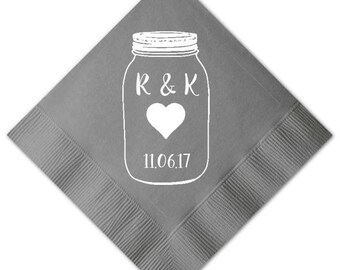 100 Personalized Napkins Beverage & Luncheon Size Available Wedding Napkins Shower Engagement Custom Monogram Rustic Mason Jars Burlap