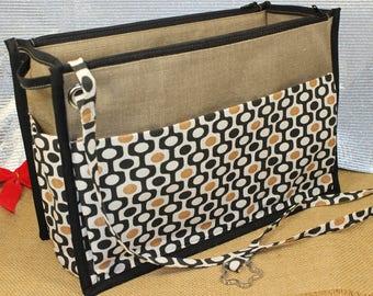 Organizer purse, cosmetic makeup, beige, coated linen, cotton print, multiple compartments, washable,