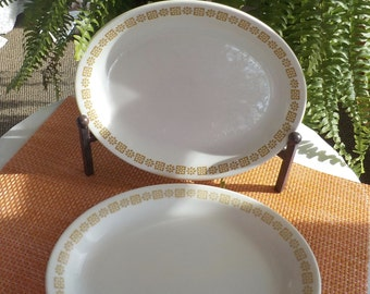 Pair of Steak Platters Shenango China Restaurant Ware Serving Platter White With Gold Pattern 12 x 9 inches Very Good Condition