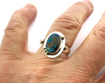 Boulder Opal Ring, Australian Opal Ring, Opal Statement Ring