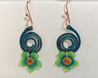 Handmade Copper Earrings with Artisan Lampwork Glass Flowers in Blue, Yellow, and Green - OOAK