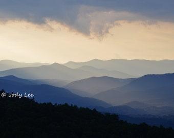 Smoky Mountains, Blue Ridge Mountains, Mountain Photography, Mountain landscape, Sundown,North Carolina,  Wall Art, Home Decor, Blue