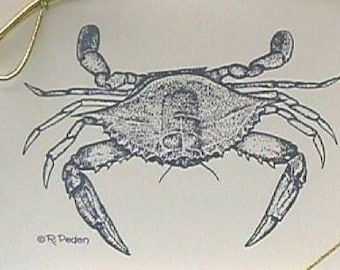 Chesapeake Bay blue crab note cards notecards, 8 blank cards and envelopes, drawing by Rachael A Peden