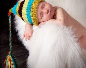 Knit Newborn Baby Boy Hat BaBY PHoTO PRoP Cozy Beanie STRiPE Tassel Stocking Hat BeBOP Lime Turquoise Brown Orange CHooSE CoLOR FCN Toque