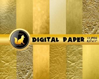 Crumpled Gold Digital Paper,Gold Scrapbook Paper,Gold Background,Gold Backdrop,digital paper,Blur Background,scrapbooking paper