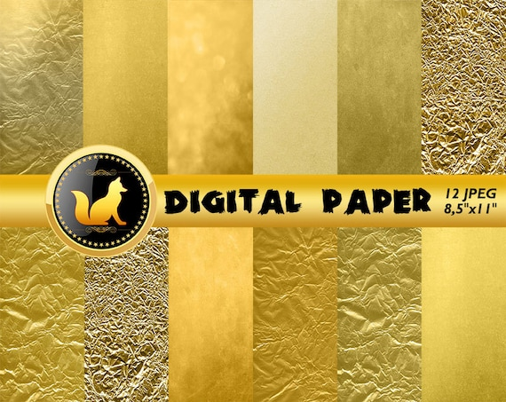 Crumpled Gold Digital Papergold Scrapbook Papergold Background