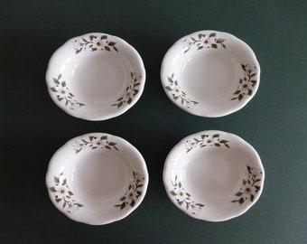 "Vintage 4 Buffalo China  4 3/4"" x 1 1/2"" Dogwood Pattern Restaurant Bowls"