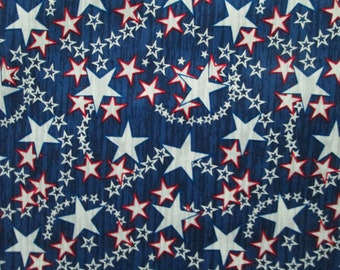 Stars Shooting White Red Blue USA Patriotic Dance Cotton Fabric Fat Quarter Or Custom Listing