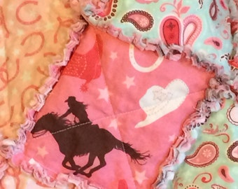 Cowgirl Rag Quilt – Pink, Mint Green, Cream, Brown – Throw Rag Quilt - Cowgirl, Horses, Stars, Paisley, Floral- Handmade - Ready To Ship