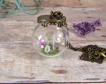 Raw quartz crystal terrarium globe necklace
