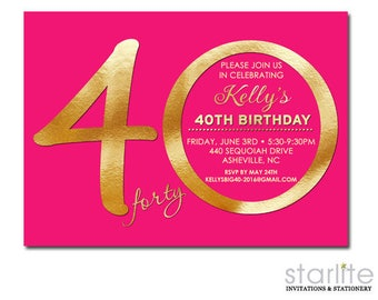 40th Birthday Invitation for Women, 40th Birthday Invitation Printed, Fuschia Hot Pink Gold Invite, ANY AGE Ending in ZERO Only, Printable