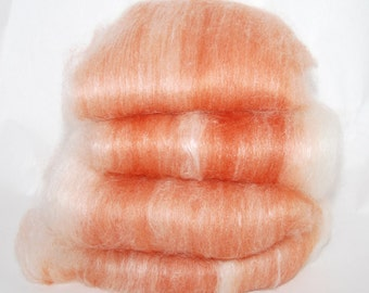 BFL/Silk Chinese Red White Spinning Batts - 4 ounces