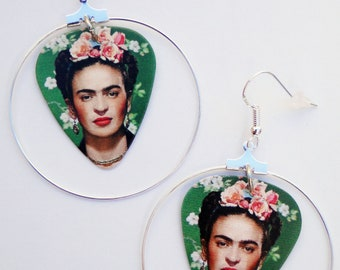 Day of the Dead Frida Kahlo sugar skull silver hoop guitar pick earrings (Dia de los Muertos)