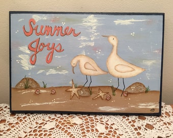 Wall Hanging, Summer Joys, Seagulls and Sand, 6 X 10, Hand Painted