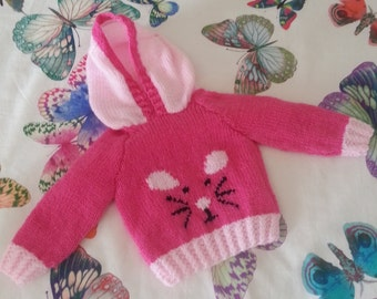 Child's Mouse Sweater Knitting Pattern, Hoodie with Mouse Knitting Pattern, Baby hoodie sweater, Knitted mouse jumper, Digital Download pdf