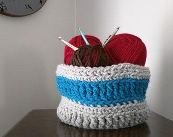 Large Crochet Basket .. Gray Basket Bin .. Storage Basket .. Crochet Home Decor .. Crochet Bowl .. Storage Bin .. Storage Container