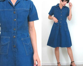 1970s Denim Dress Denim Mini Dress Button Up Front Collared Dress Patch Pockets Short Sleeve Indigo Dyed Medium Wash Chambray Dress (S)