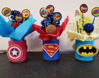 Custom Superhero Birthday Party Centerpiece (Listing for 1), Superhero Birthday Party Decorations, Comic Book Party, Comic Book Centerpiece