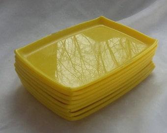 Set of Eight Yellow Snack Trays Trinket Trays