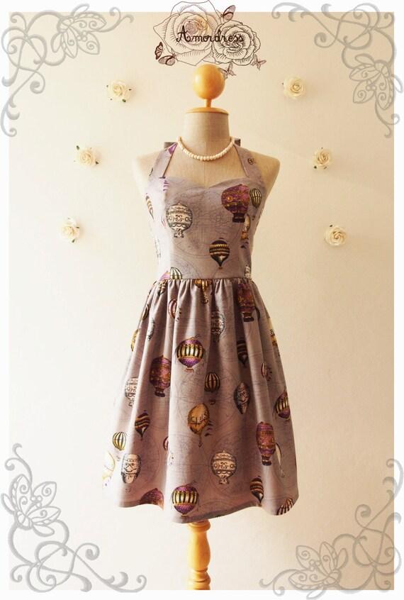 love journey balloon world map dress swing dance dress summer dress whimsical sundress vintage inspired dress party dress grayish purple