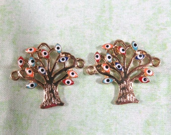 2 Gold Plated  Alloy Evil Eye Pattern Tree Connectors (B372a)
