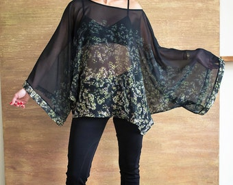 Kimono Top/Plus Size Top/Extravagant Blouse/Party Top/Bat sleeve top/Oversized top