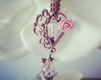 Baby Pink Heart Rose Pendant - Copper Wire-Wrap Cute Gothic Princess Necklace with Glass Loveheart