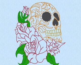 Sugar Skull with Roses redwork Machine Embroidery Design File