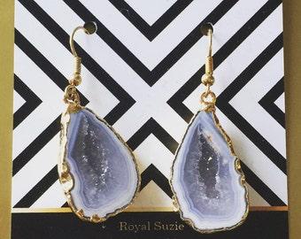 Natural Druzy Halve Earrings // Boho Crystal Earrings