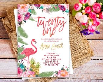 twenty one birthday invitation printable, twenty one flamingo birthday invitation luau, palm leaves tropical invitation 21st Birthday Invite