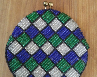 60s blue, green and white beaded coin purse, hand made in Korea