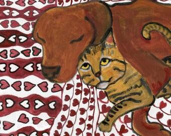 "Dog and cat art card, ""Love Escape"",  5"" x 5"" blank card, tabby cat"