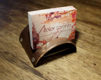 Card holder-business & support phone copper steel and rivets, practical, professional