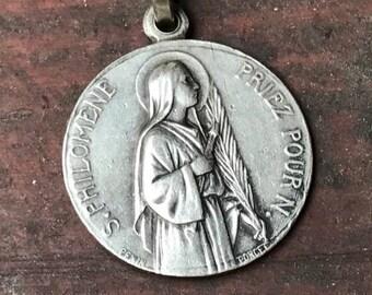 """Saint PHILOMENE Philomena Pray for Us & Saint John Vianney Vintage Religious Medal on 18"""" sterling silver rolo chain"""