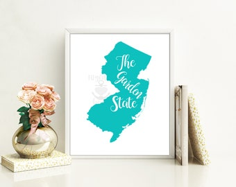 New Jersey state nickname - The Garden State - INSTANT DIGITAL DOWNLOAD Wall art, 4 colors, state history