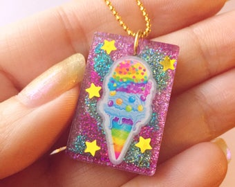 "Rainbow Icecream cone, Resin Necklace, Glitter, 16"" gold chain, cute pendant"